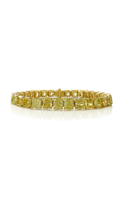 Fancy Yellow Cushion Cut Classic Straight Line Diamond Bracelet product image