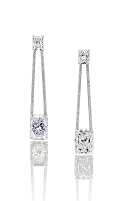 "White Radiant Cut ""Swing"" Pavé Diamond Drops product image"
