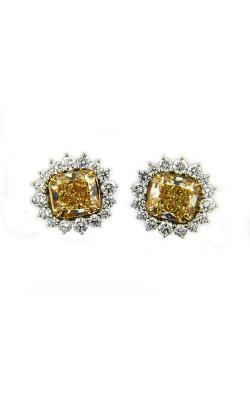 Yellow & White Radiant Diamond Halo Studs product image
