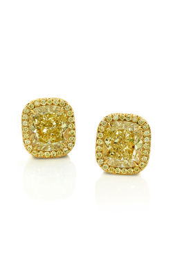 Classic Yellow Cushion Cut Halo Diamond Studs product image