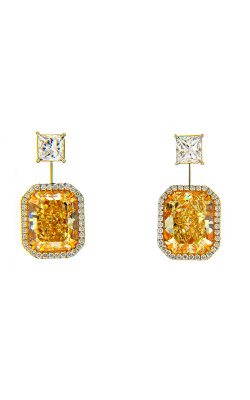 Yellow & White Radiant Diamond Halo Drop Earrings product image