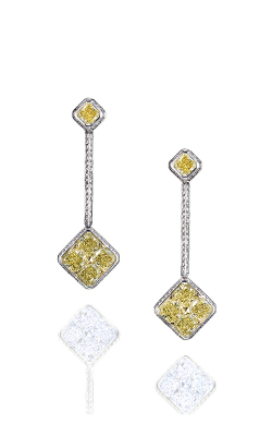 Yellow & White Radiant Pave Drop Earrings product image