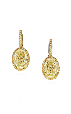 Classic Yellow Oval Cut Halo Diamond Drops product image