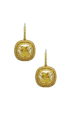 Yellow Cushion Double Halo Diamond Drop Earrings product image