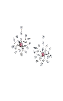 Pink & White Floral Diamond Chandelier Earrings product image