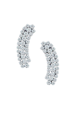 White Round Brilliant Cut Triple Row Cluster Diamond Earrings product image