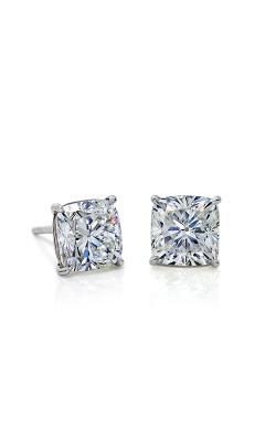 White Cushion Diamond Stud Earrings product image