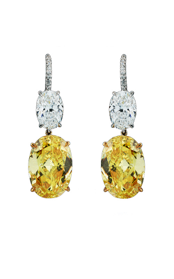 Yellow & White Oval Drop Earrings product image