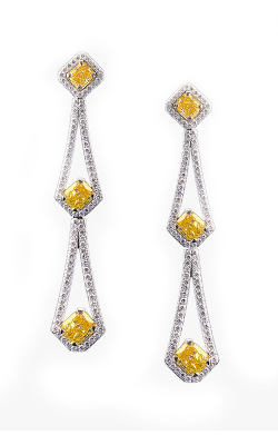 Yellow & White Cushion Halo Diamond Earrings product image