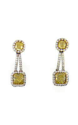 Yellow & White Pave Drop Diamond Earrings product image