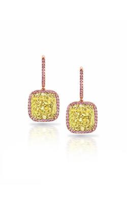 Yellow & Pink Cushion Halo Diamond Earrings product image