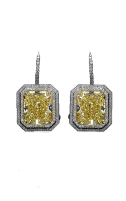 Yellow & White Radiant Cut Double Halo Diamond Drops product image