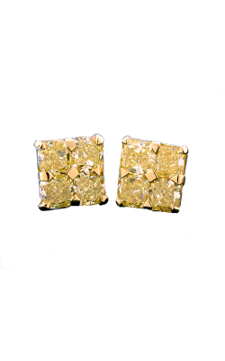 Yellow Radiant Cut Cluster Diamond Studs product image