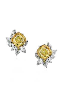 Yellow & White Multi-Shape Halo Floral Cluster Studs product image