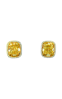Classic Yellow & White Cushion Cut Halo Diamond Studs product image