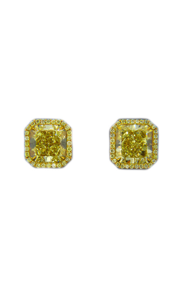 Classic Yellow Radiant Cut Halo Diamond Studs product image