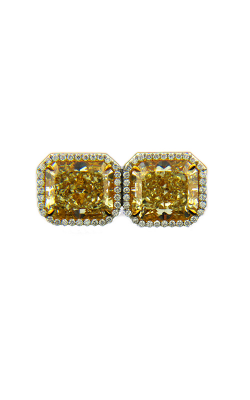 Classic Yellow & White Radiant Cut Halo Diamond Studs product image