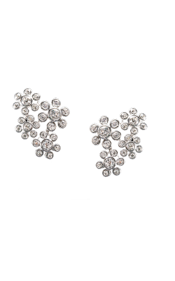 White Round Brilliant Cut Floral Cluster Diamond Earrings product image