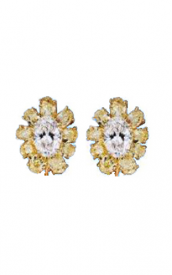 Yellow & White Oval Cut Floral Cluster Diamond Earrings product image