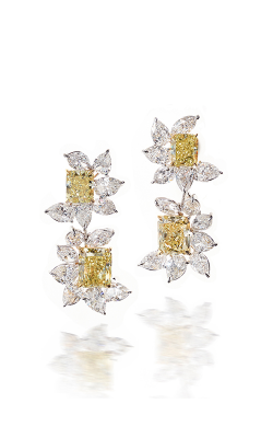 Yellow & White Multi-Shape Cluster Diamond Drops product image