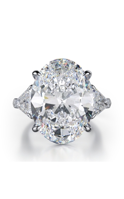 Oval Three-Stone Diamond Ring product image