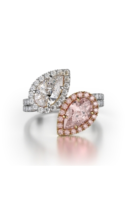 Pink & White Twin Stone Pave Diamond Ring product image
