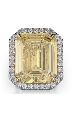 Yellow Emerald Cut Halo Ring product image