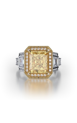 Yellow & White Radiant Halo Diamond Ring product image