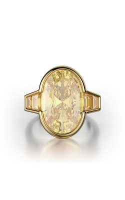 Yellow Oval Bezel Diamond Ring product image