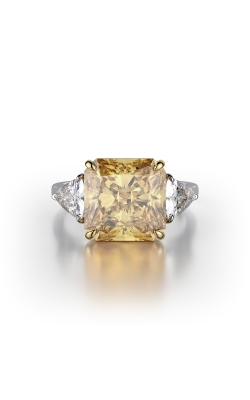 Yellow & White Radiant Three Stone Diamond Ring product image