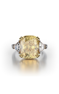 Yellow & White Cushion Three Stone Diamond Ring product image