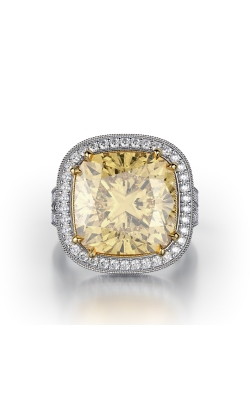 Yellow & White Cushion Vintage Halo Diamond Ring product image