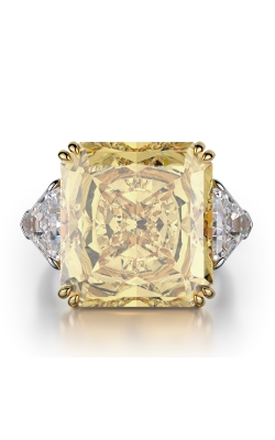 Yellow & White Emerald Cut Three Stone Diamond Ring product image