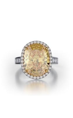 Yellow & White Oval Cut Halo Diamond Ring product image