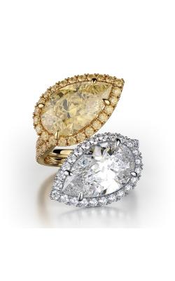 Yellow & White Pearshape Halo Twin Stone Diamond Ring product image