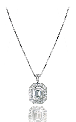 Bezel-set Emerald Cut Halo Diamond Pendant product image
