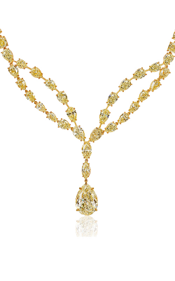 Fancy Yellow Multi-Shape Diamond Drop Necklace product image
