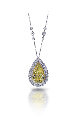 Yellow & White Pearshape Diamond Pendant product image