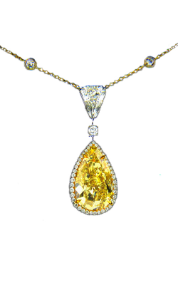 Yellow & White Pearshape Diamond Pendant product image