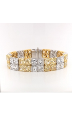 Yellow & White Radiant Cut Double Row Straight Line Diamond Bracelet  product image