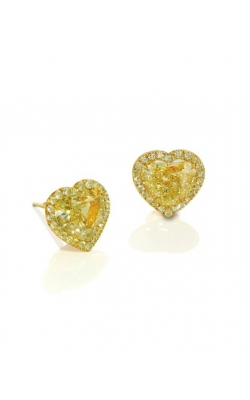 Classic Yellow Heartshape Halo Diamond Studs product image
