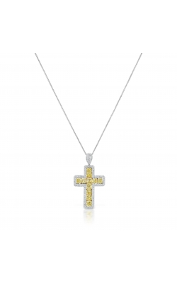 Yellow & White Radiant Cut Cross Diamond Pendant product image