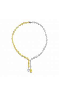 Yellow & White Pearshape Drop Diamond Necklace product image