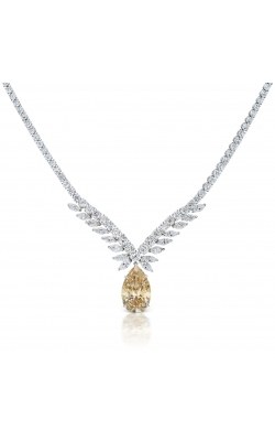 Yellow & White Pearshape Diamond Necklace product image